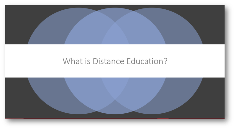 "image reading ""what is distance education?"""