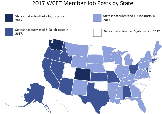 Map of the US. Each state is highlighted as submitting different numbers of job posts in 2017. Most states submitted 1-5, following by states submitting 6-20, then 0 job posts, and 21+ posts.