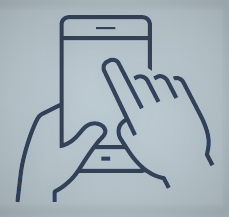 Outlines of hands holding a mobile phone