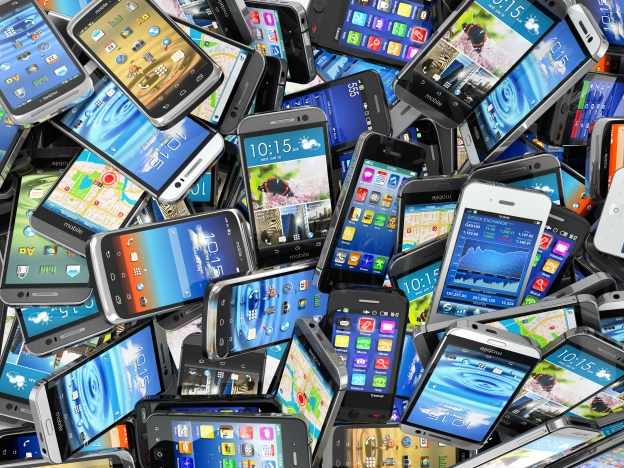 photo of a large pile of smart phones