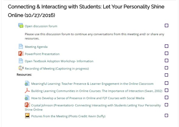 Connecting and interacting with students: let your personality shine online