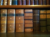 row of old dictionary books