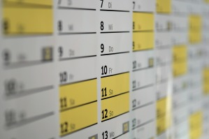 A calendar showing various dates