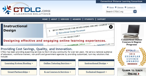 Screen shot of CTDLC.org webpage. Shows menu items (home, about, services, members, students, support), and various services such as Learning system hosting, online tutoring services, instructional design support, grant partnerships, k-12 courses and services, technical support.