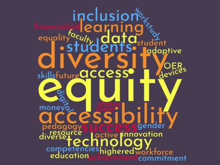 word cloud with words: inclusion, financial aid, learning, worstudy, data, equality, faculty, studnet, diversity, skills, future, access OER, equity, digital, accessibility, success, technology, diverse, innovation, competencies, highered, worforce, education,a chievement, committment