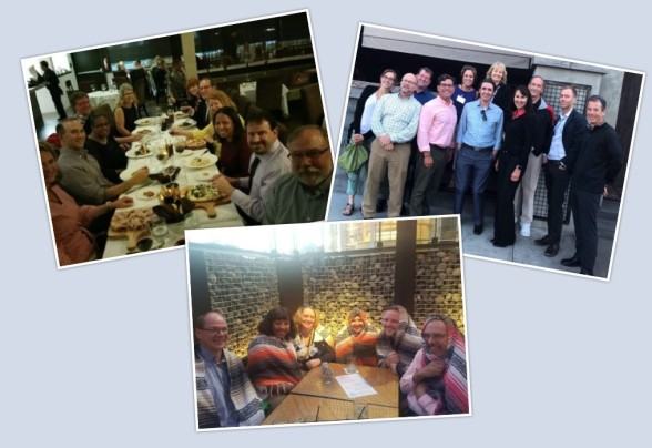 collage of the summit dinner groups. several people standing in front of restaurants or sitting at tables eating.