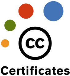 "Logo for Creative Commons Certificates. Four colored circles in an arc around the CC logo (a black circle with the letters CC). Underneath the entire logo it says ""certificates"""