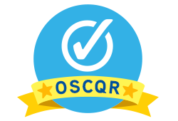 the OSCQR logo: A large blue cirlce holds a white checkmark. A ribbon near the bottom of the logo has a star, the letters OSCQR, followed by another star.
