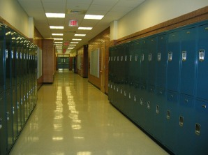 A highschool hallway lined with lockers.