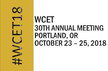 Image that reads: WCET 30th Annual MeetingPortland, OR, October 23 – 25, 2018. #WCET18