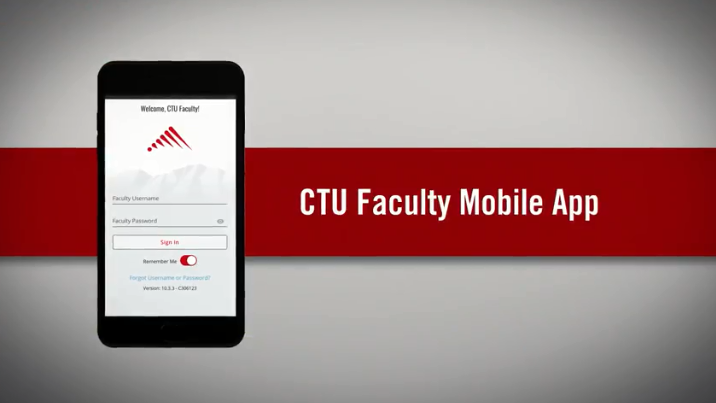 "Screen shot showing the login page for the CTU Facutly app on a smartphone screen. It says ""Welcome CTU FAcutly"" and has a field of Username and password, with a sign in button below."