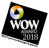 "2018 WOW award logo. The WCET logo inside of a black box. Below the wcet logo, text reads ""WOW award 2018."" Underneath the black box reads ""WCET Oustanding Work Award"""
