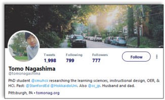 Tomo Nagashima twitter profile iwth intro: PhD student @cmuhcii researching the learning sciences, instructional design, OER, & HCI. Past: @StanfordEd @HokkaidoUni. Also @cc_jp. Husband and dad.""