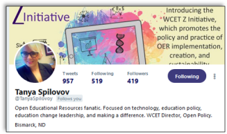 Tanya Spilovoy twitter profile and intro: Open Educational Resources fanatic. Focused on technology, education policy, education change leadership, and making a difference. WCET Director, Open Policy.
