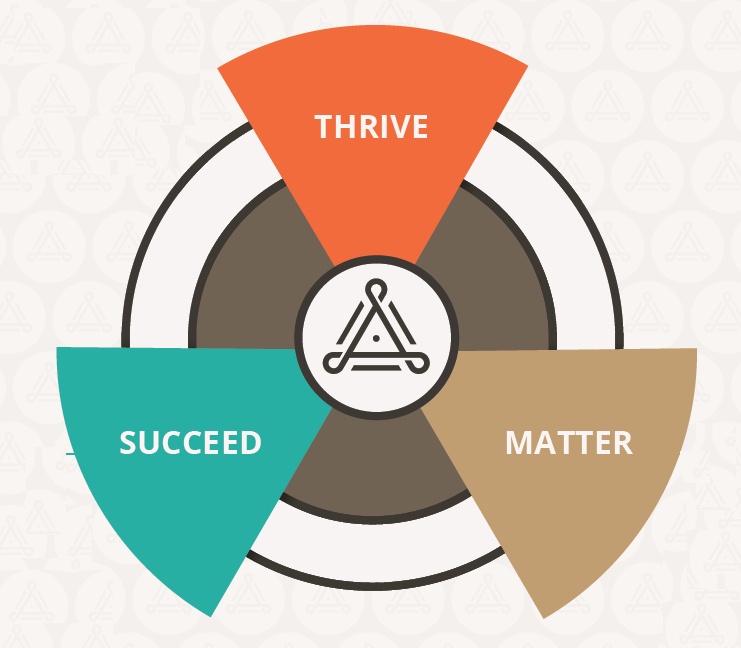 A model showing the Thrive, Succeed, Matter model. Three triangles connected in a cirlce, each triangle says either Thrive, Succeed, Matter.
