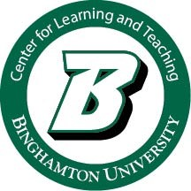 "logo for Binghamton University. A green circle around a large ""B"" the circle reads ""center for learning and teaching, Binghamton University"