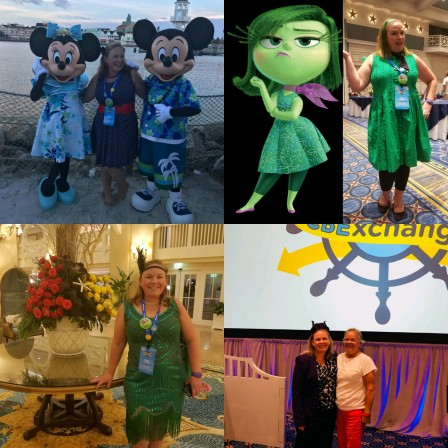 Four pohtos of Cali dressed up as disney characters in a collage. 1. With Minnie and Mickey in a minnie inspired, polka dot outfit, 2. with a disney character in all green, Tiana from Princess and the Frog, and posing with her mother in front of a large conference room.