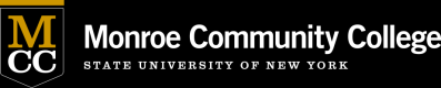 "Monroe Community College logo. MCC letters in gold and white, the name of the school, and ""state university of new york"""
