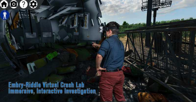 Screen shot of a virtual lab with an interactive investigation of a plane crash. A character stands in front of a crashed plane.