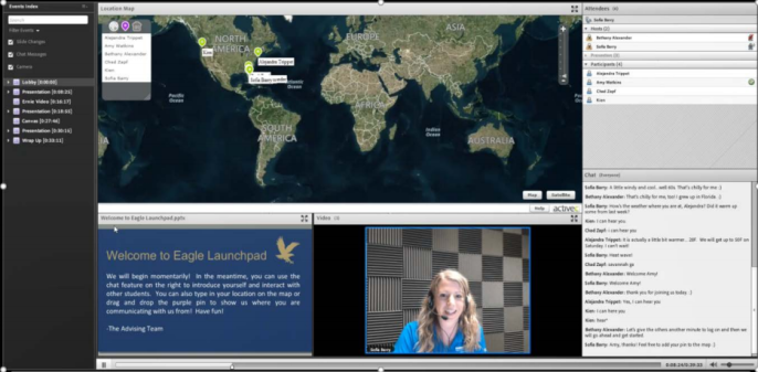 "A screen shot of a virtual student ""launchpad,"" showing a video conference with an advisor and a chat with other students."