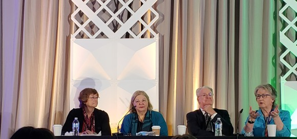 Panel of speakers at annual meeting. 30 Years Back, 30 Years Forward panel with Linda Baer, Ellen Wagner, Donald Norris, and Sally Johnstone