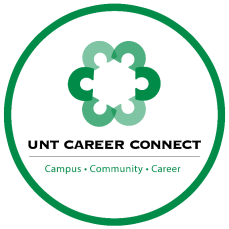 UNT career connect logo. A green circle made of