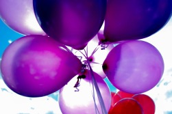 Picture of several purple balloons tied together.