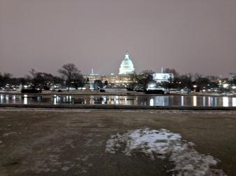 Picture of the capitol building at dusk.