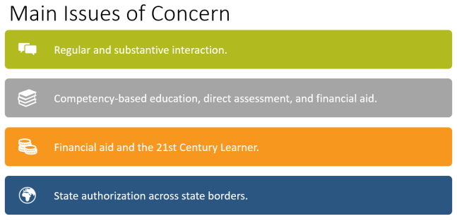Main issues of concern in a list: Regular and substantive interaction. Competency-based education, direct assessment, and financial aid. Financial aid and the 21st Century Learner. State authorization across state borders.