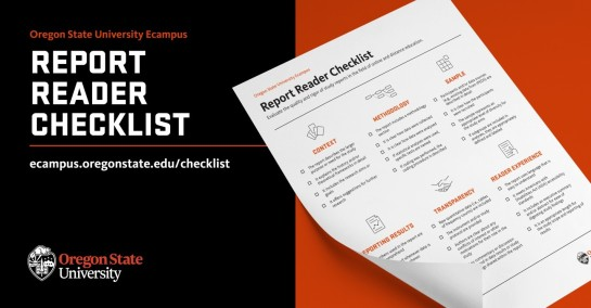 Marketing image showcasing the Report Reader Checklist from Oregon State University Ecampus. Includes hyperlink ecampus.oregonstate.edu/checklist.