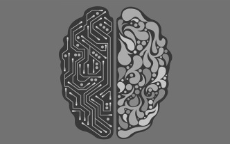 Black and gray picture of a brain that symbolizes artificial intelligence.