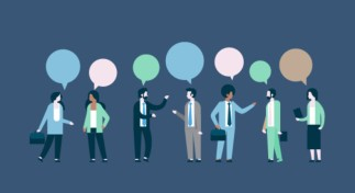 Image of seven people standing in a line, talking with the person to their side. Each person has a conversation balloon above their head.