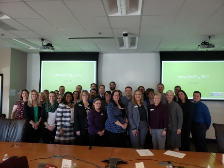 Picture of about 30 faculty who pitched their ideas at Innovation Day.