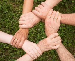 Picture of five people holding hands. Their hands represent a circle form.
