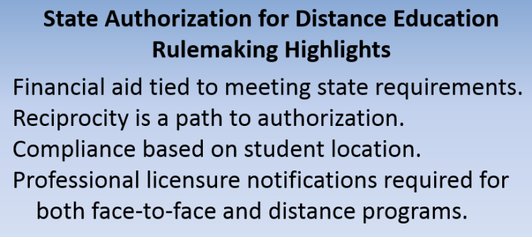"Blue image that reads, ""State Authorization for Distance Education Rulemaking Highlights."""
