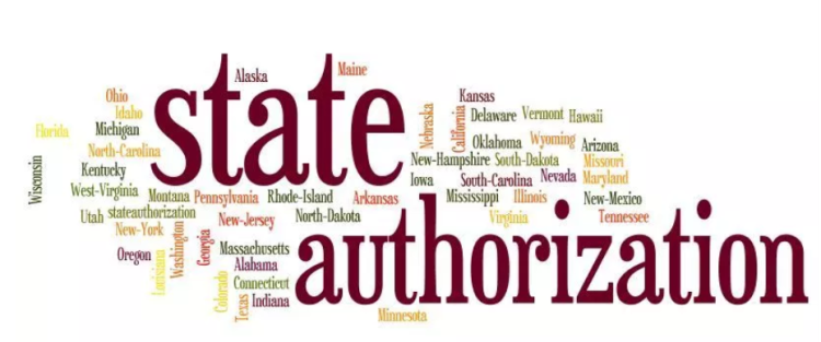 "Graphic that reads ""State Authorization"" in red. The names of each state are written around the phrase ""State Authorization."""