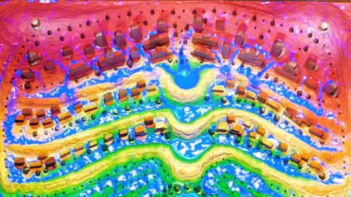 Image that is a topical map of the Augmented Sandbox. The map is filled with the colors red, orange, yellow, green, and brown, with each one displaying a different part of the sandbox.