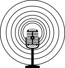 Graphic of a microphone with several circles around it, showing that sound is coming from the mic
