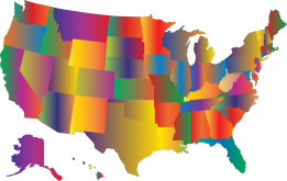 A map of the U.S. in prismatic colors
