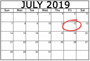 A July 2019 calendar with July 12 circled in red
