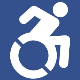 Alt text:  Icon produced by the Accessible Icon Project showing a person in motion in a wheelchair.