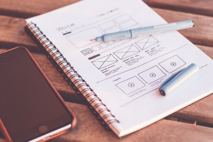 Image showing a pen and ink drawing of a website wireframe.