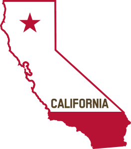 state of claifornia outlined in red with a star