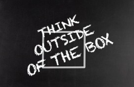 "the words ""think outisde of the box"" written outside of a hand drawn box"