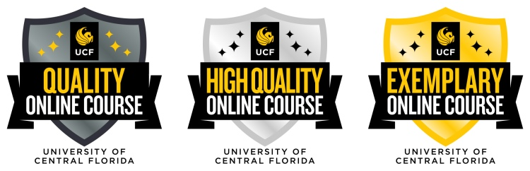 "Examples of the digtail badges. Triangle icons with UCF logo, text that says ""Quality Online Course,"" ""Higher Quality Online Course,"" or ""Exemplary ONline Course."""