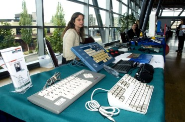 Special keyboards and other devices on display at the 2011 Diversity Conference.