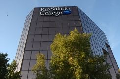 Large skyscraper with Rio Salado College logo