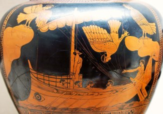 Odysseus and the Sirens on a stamped black and red vase.