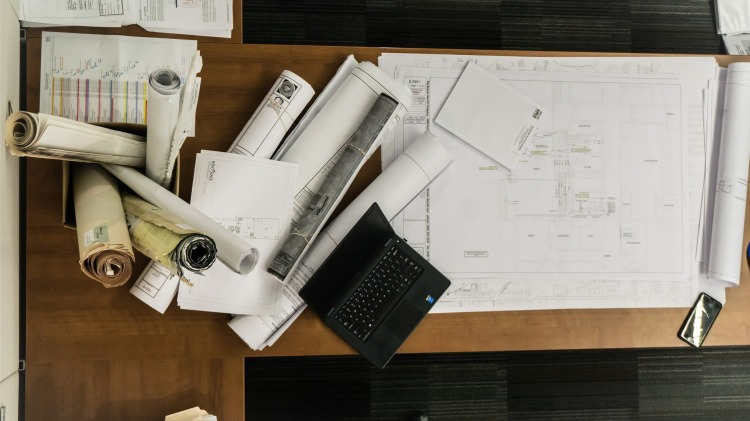 blueprints on a desk