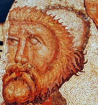 Ancient mosaic of the Roman villa of La Olmeda in Pedrosa de la Vega (Palencia, Castile and León, Spain), depicting Odysseus (Ulises), late 4th-5th centuries AD. This is a close-up detail of a larger scene from the Iliad depicting Odysseus discovering Achilles as he is cross-dressed and fawned over by a group of adoring princesses at Skyros.